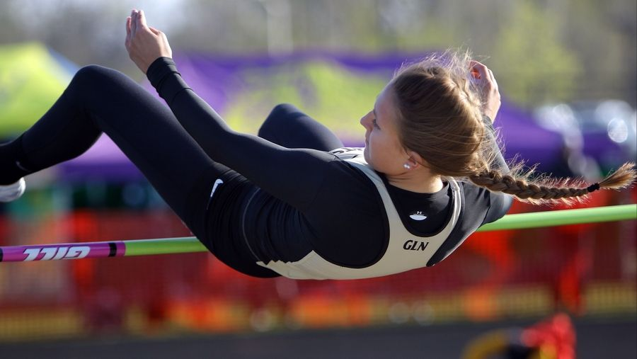 Grayslake North's Allison O'Connell competes in the high jump during the Lake County meet Friday at Grayslake North High School.