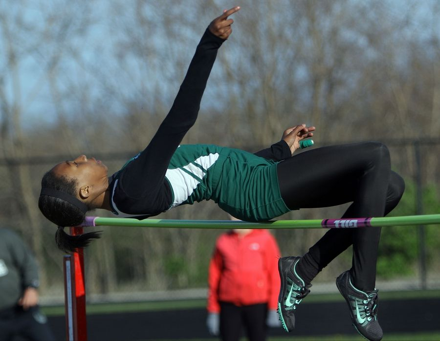 Grayslake Central's Meghan Fletcher competes in the high jump during the Lake County meet Friday at Grayslake North High School.