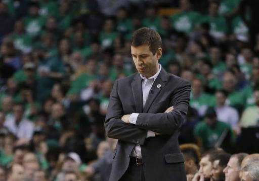 Boston Celtics coach Brad Stevens reacts on the sideline during the third quarter against the Atlanta Hawks in Game 6 of a first-round NBA basketball playoff series Thursday, April 28, 2016, in Boston. The Hawks won 104-92 to win the series 4-2. (AP Photo/Elise Amendola)