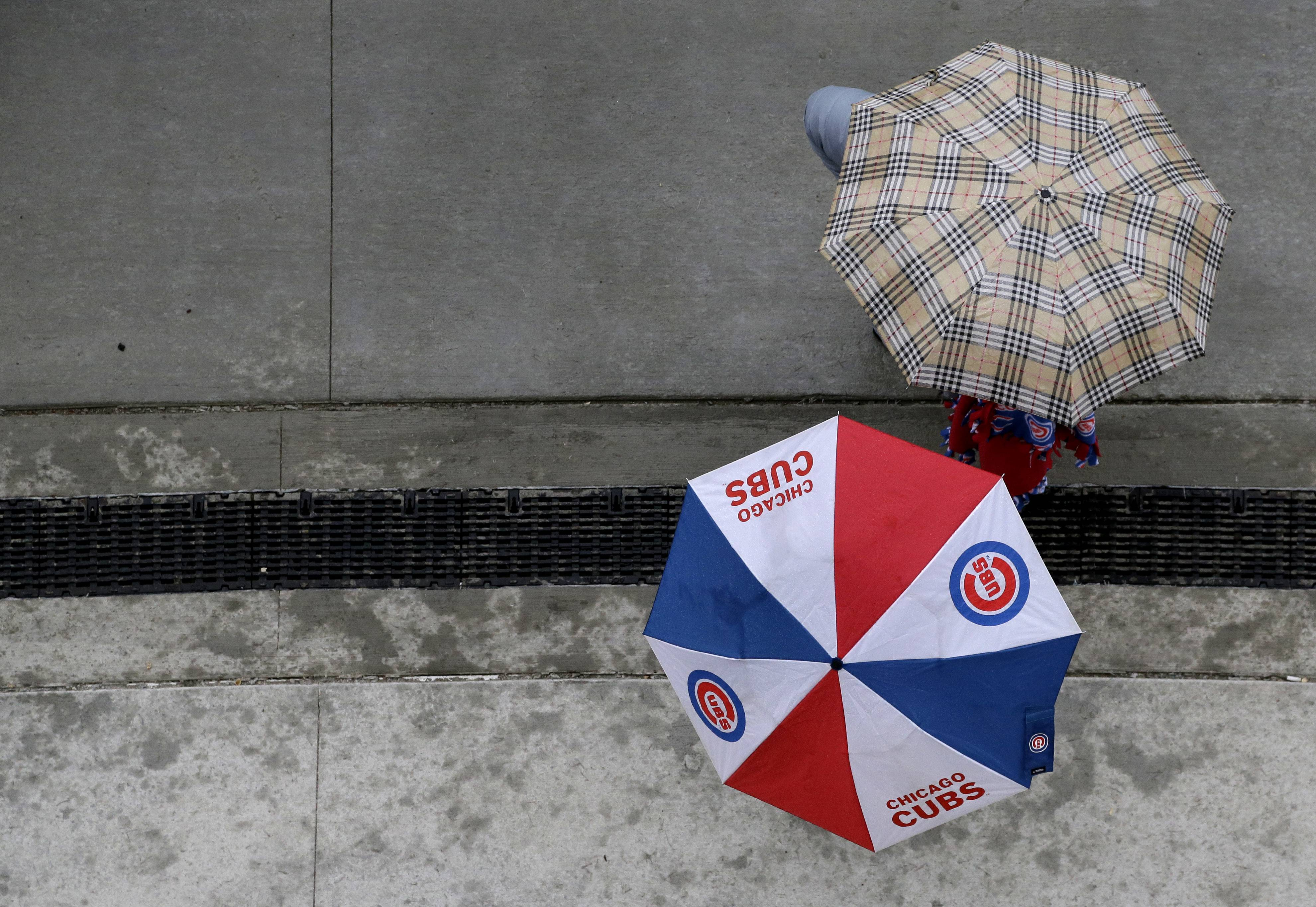 The scheduled game Saturday between the Cubs and Atlanta Braves has been postponed because of rain. Rain was forecast all day in Chicago. The game was called about two hours before the scheduled first pitch at 1:20 p.m. No makeup date was immediately announced.