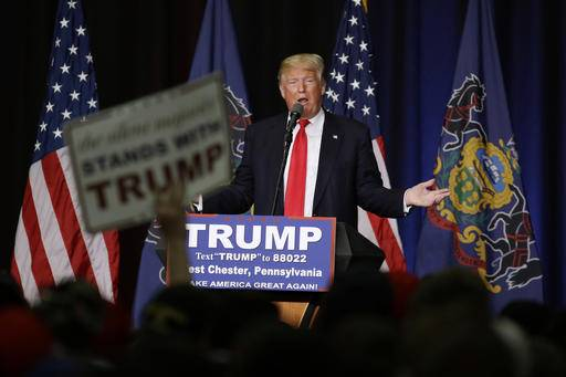 FILE - In this April 25, 2016, photo, Republican presidential candidate Donald Trump speaks during a campaign rally at West Chester University in West Chester, Pa. A solid majority of Pennsylvania Republicans elected as delegates to the GOP's presidential nominating convention in Cleveland say they intend to vote for the candidate who won a thumping primary victory in their state - Trump. (AP Photo/Matt Slocum, File)