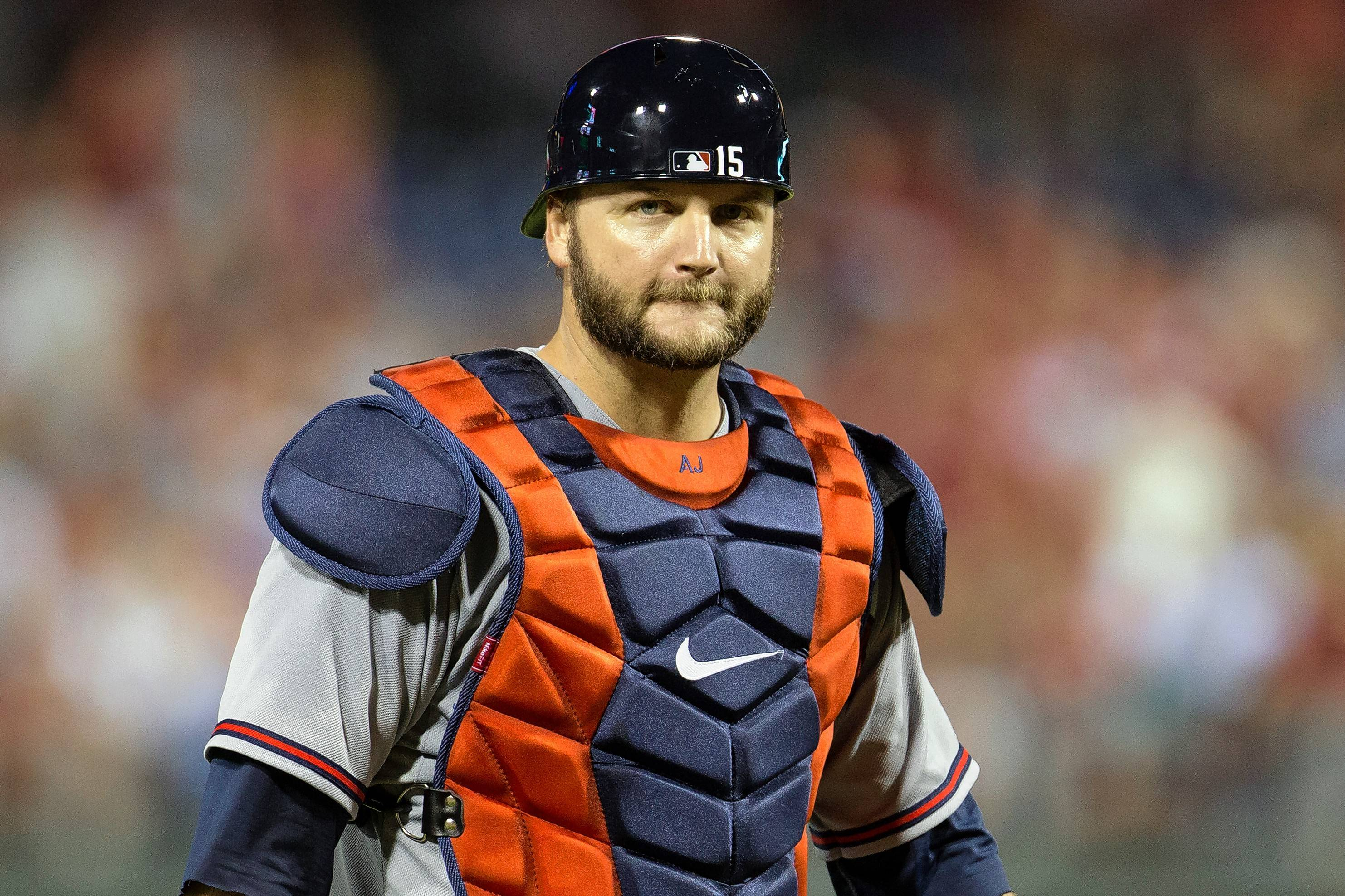 Atlanta Braves' A.J. Pierzynski looks on during the fifth inning of a baseball game against the Philadelphia Phillies, Friday, July 31, 2015, in Philadelphia. The Phillies won 9-3. (AP Photo/Chris Szagola)