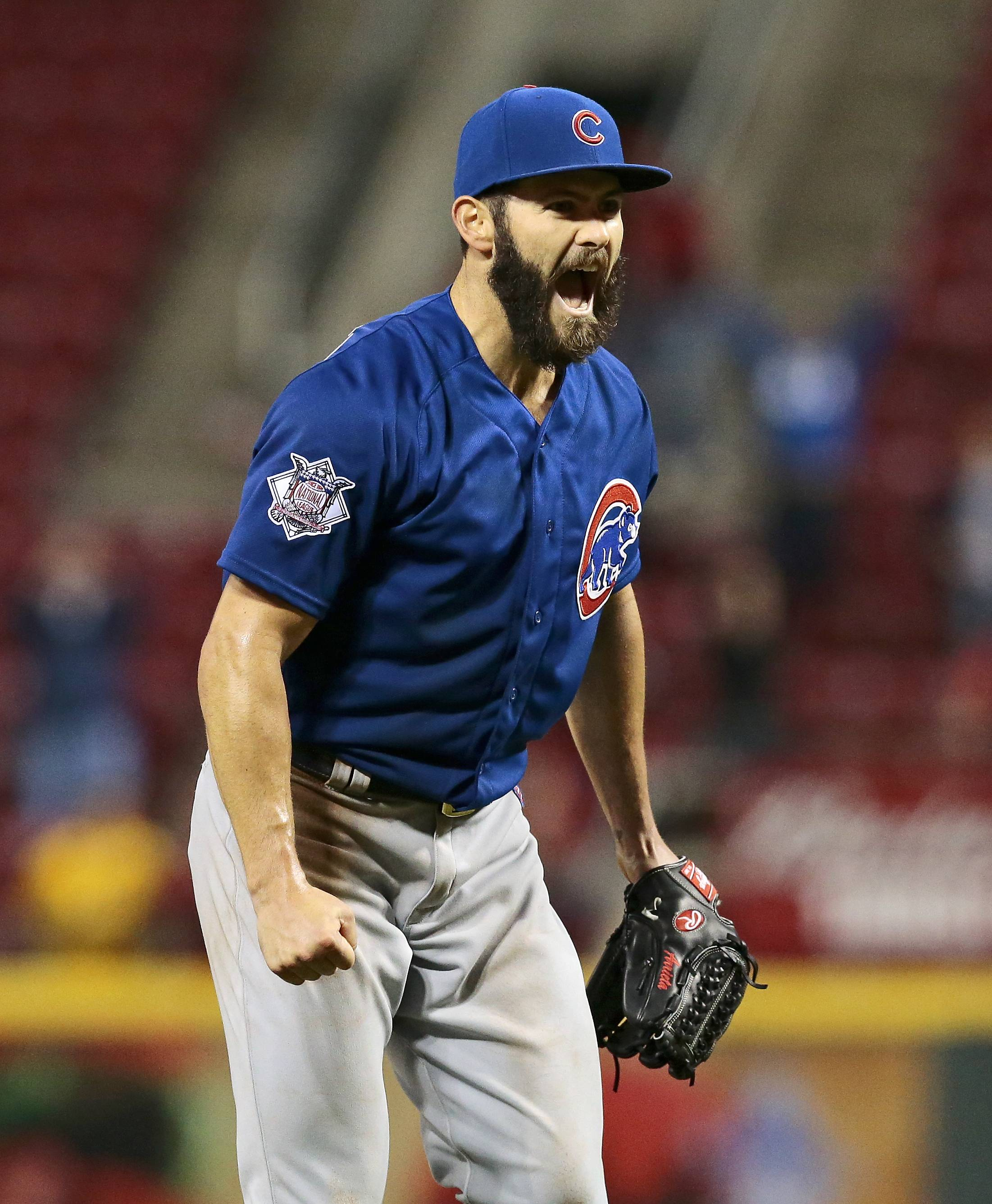 Chicago Cubs starting pitcher Jake Arrieta jumps in celebration after the final out of his second career no-hitter, against the Cincinnati Reds on April 21 in Cincinnati.