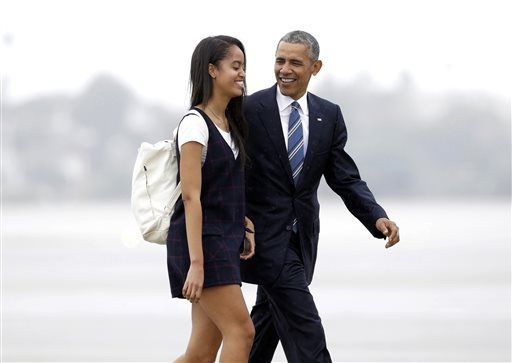 "FILE- In this April 8, 2016, file photo, President Barack Obama and his daughter Malia walk from Marine One toward Air Force One at Los Angeles International Airport. Malia is taking a year off after graduating from high school before attending Harvard University as part of an expanding program for students known as a ""gap year."""
