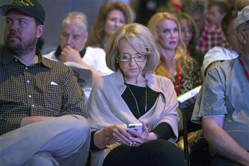 Former Gov. Jan Brewer attends the Arizona Republican 2016 state convention at the Mesa Convention Center Saturday, April 30, 2016. (Cheryl Evans/The Arizona Republic via AP)
