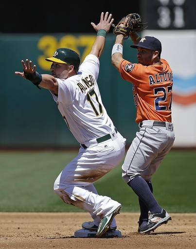 Houston Astros' Jose Altuve, right, makes the out against Oakland Athletics' Yonder Alonso in a fielder's choice in the second inning of a baseball game Sunday, May 1, 2016, in Oakland, Calif.
