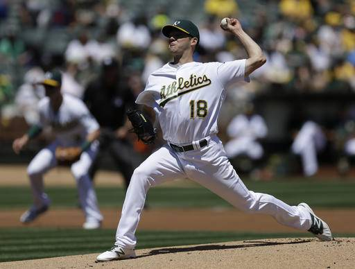 Oakland Athletics pitcher Rich Hill works against the Houston Astros in the first inning of a baseball game Sunday, May 1, 2016, in Oakland, Calif.