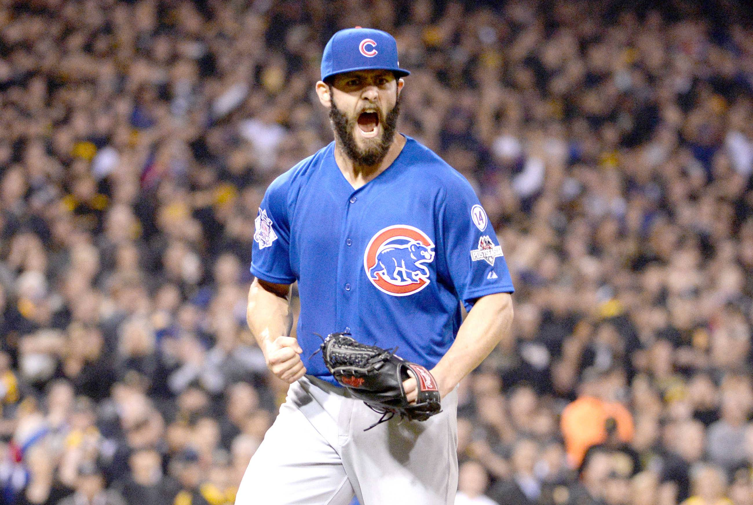 Jake Arrieta reacts after getting a key double play to end the sixth inning of last October's National League wild-card game against the Pirates at PNC Park in Pittsburgh.