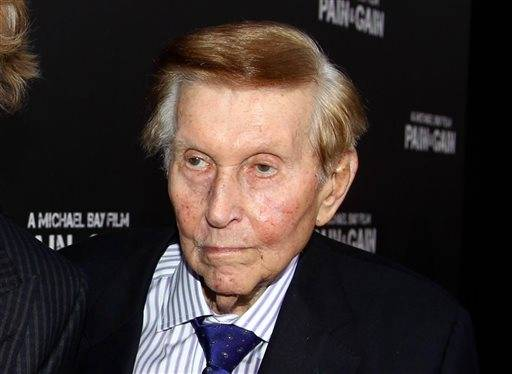 "FILE - In this April 22, 2013 file photo, Sumner Redstone arrives at the LA Premiere of ""Pain and Gain"" in New York. A judge ruled on Monday, May 2, 2016, that Sumner Redstone should give 30 minutes of videotaped, sworn testimony in a case about the ailing media mogul's mental capacity that was filed by Redstone's ex-girlfriend and longtime companion, Manuela Herzer. (Photo by Matt Sayles/Invision/AP, File)"