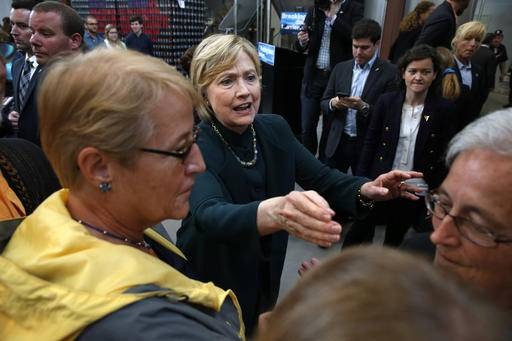 Democratic presidential candidate Hillary Clinton listens during a campaign stop at Jackie O's Production Brewery and Tap Room in Athens, Ohio, Tuesday, May 3, 2016. (AP Photo/Paul Sancya)