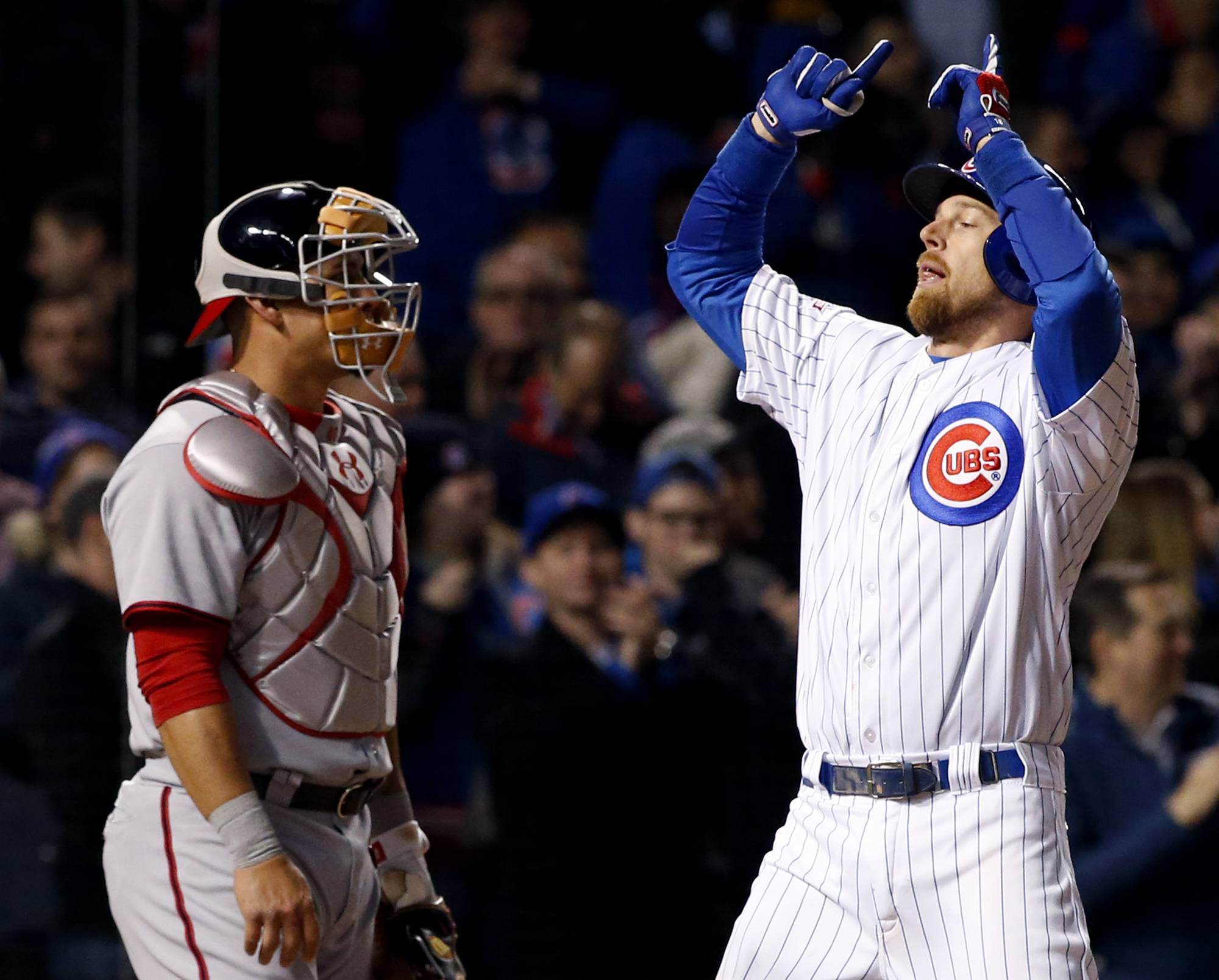 Ben Zobrist put the Cubs ahead 2-0 with a single in the fourth, and he added a 2-run homer in the eighth to help the Cubs to a 5-2 victory, their fourth win in a row. Kyle Hendricks pitched 6 scoreless innings of 2-hit ball for the Cubs before giving way to the bullpen. The Nationals got their runs on a 2-run homer by Jayson Werth in the ninth.