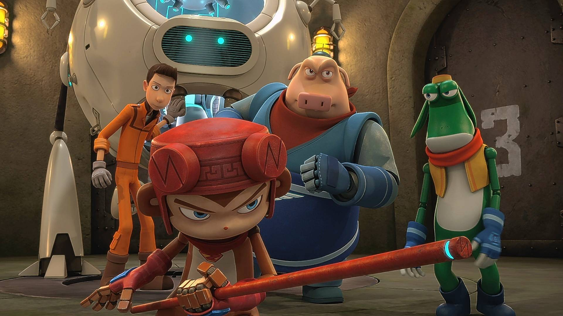 "Sam (Taylor Kitsch), left, leads a group of superhero robots in the animated kids fantasy ""Bling."""