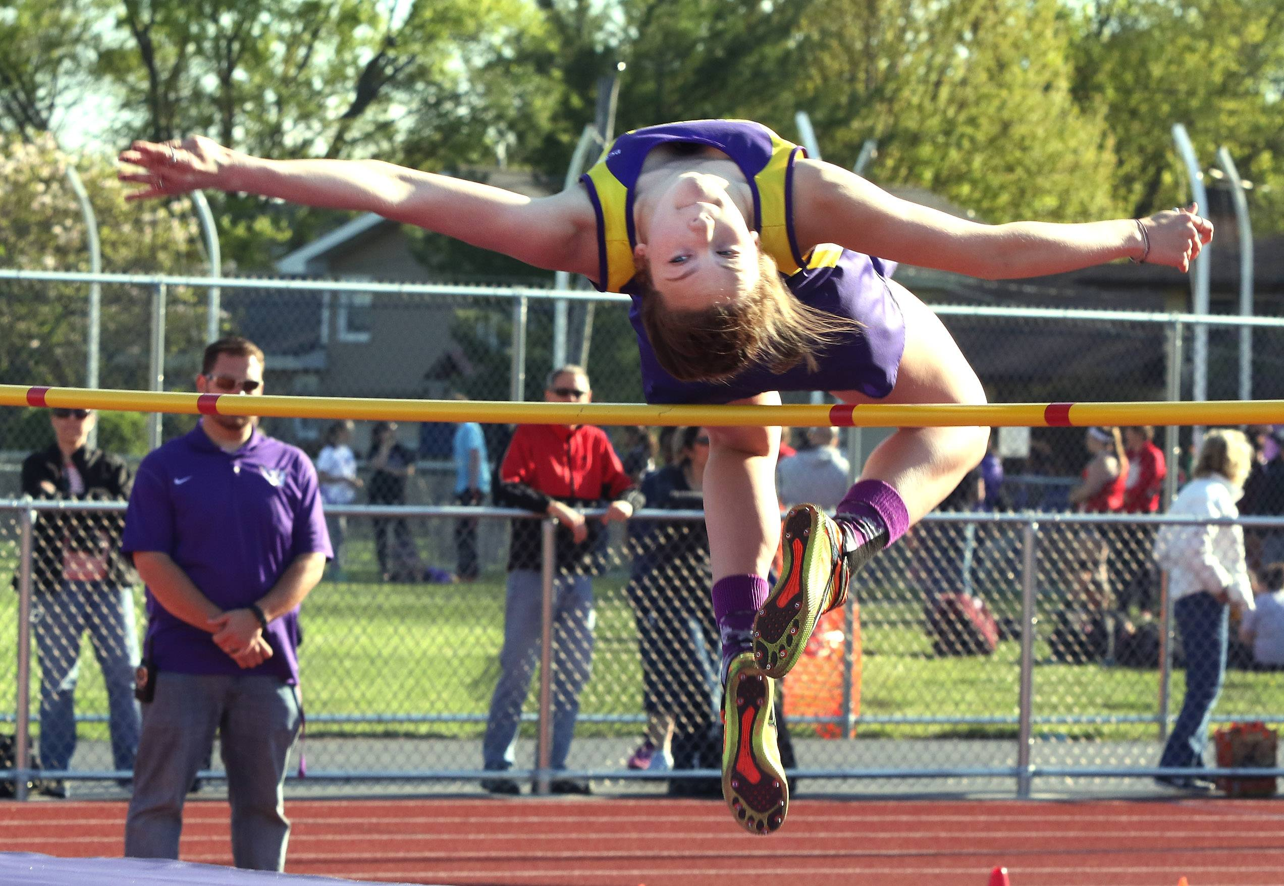 Grace Daun of Wauconda wins the high jump during the North Suburban Conference meet Thursday at Wauconda.