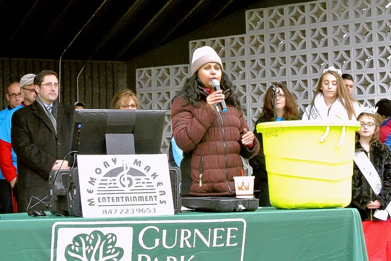 Executive Director for Gurnee Park District Susie Kuruvilla addresses the crowd at the Go Gurnee kickoff event.