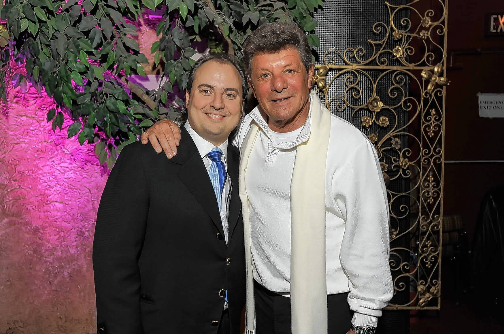 Arcada Theatre owner Ron Onesti, left, will welcome recording artist Frankie Avalon, right, back to St. Charles on Mother's Day.