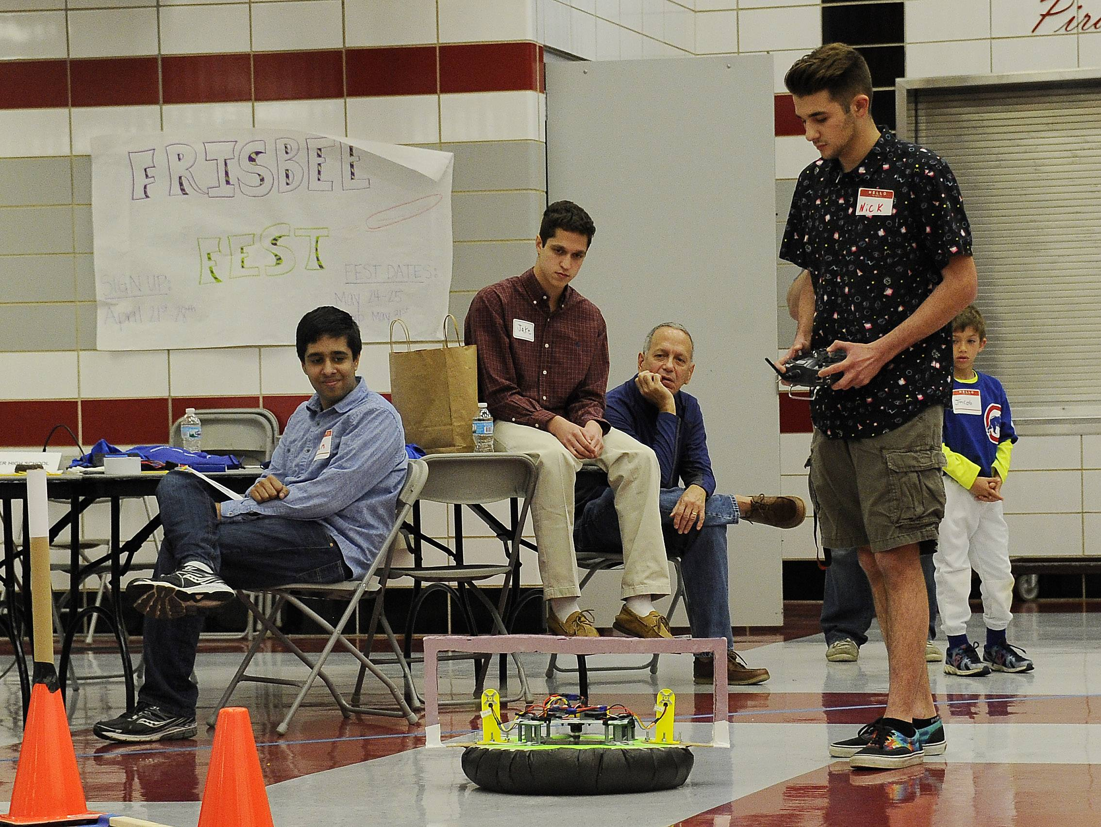 Palatine High School student Nick Losch pilots his team's hovercraft through a maze of challenges at the 2016 High School Innovation Challenge which was sponsored by Northrop Grumman.
