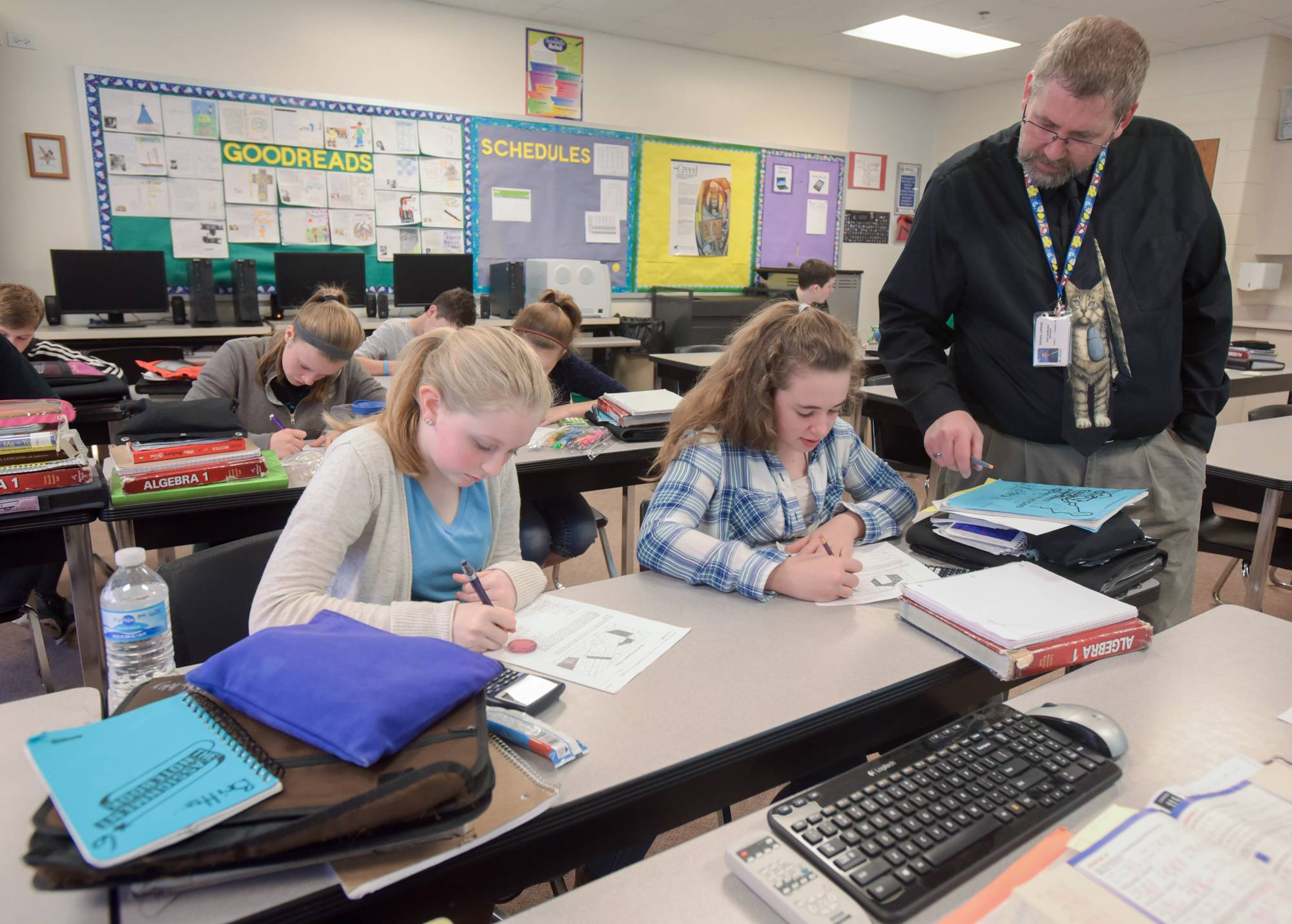 Bethany Lutheran School teacher Rob Johnson leads an Algebra I class at the Naperville school where he has taught for 15 years.
