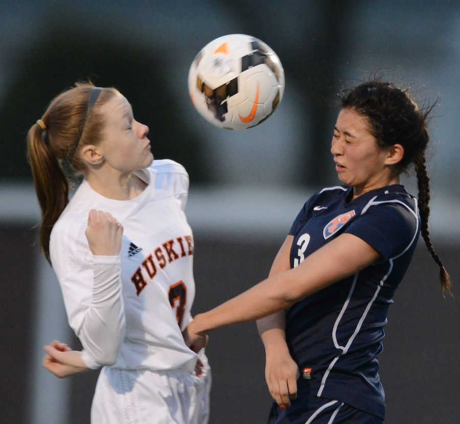 Buffalo Grove's Alyssa Floro, at right converging on a ball with Hersey's Taylor Lafeyette, has been among the key players for the MSL East champs this season. Floro's overtime goal against Elk Grove last week propelled the Bison into Wednesday's MSL title game at Barrington.