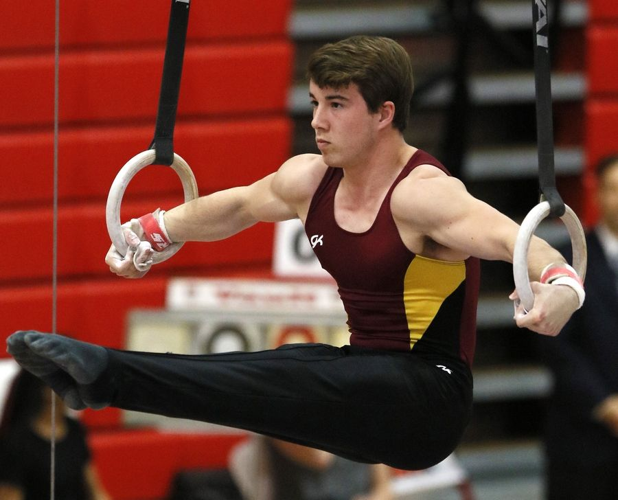 Schaumburg's Dylan Mitchell performs his still rings routine Saturday during the boys gymnastics state finals at Hinsdale Central.