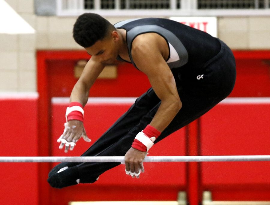 Elgin's Nolan Williamson performs his high bar routine Saturday during the boys gymnastics state finals at Hinsdale Central.