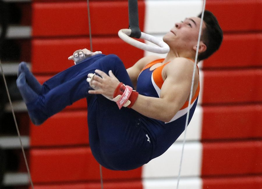 Buffalo Grove's Leo Cuellar performs his floor exercise routine Saturday during the boys gymnastics state finals at Hinsdale Central.