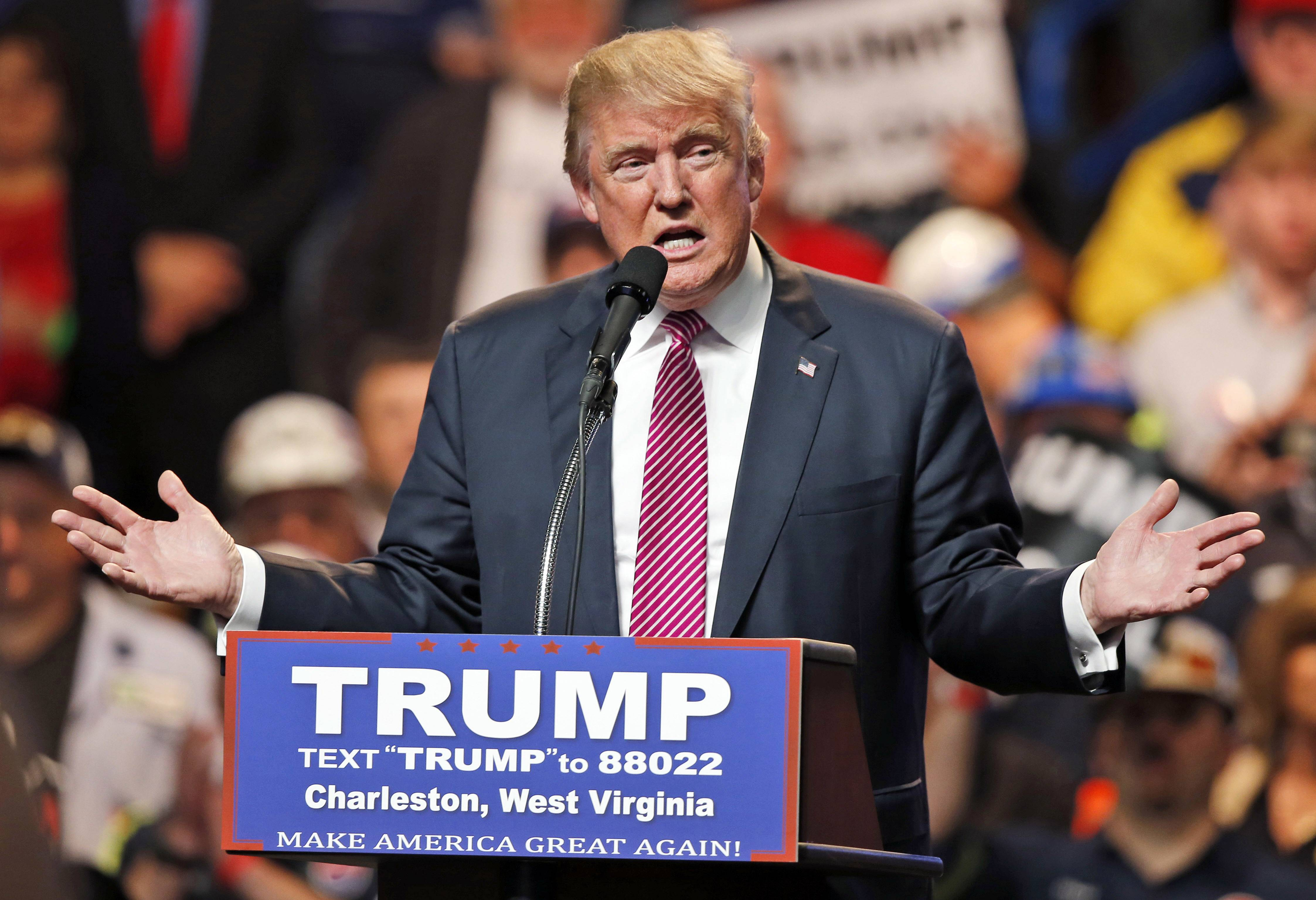 Republican presidential candidate Donald Trump gestures during a rally in Charleston, W.Va., Thursday, May 5, 2016.