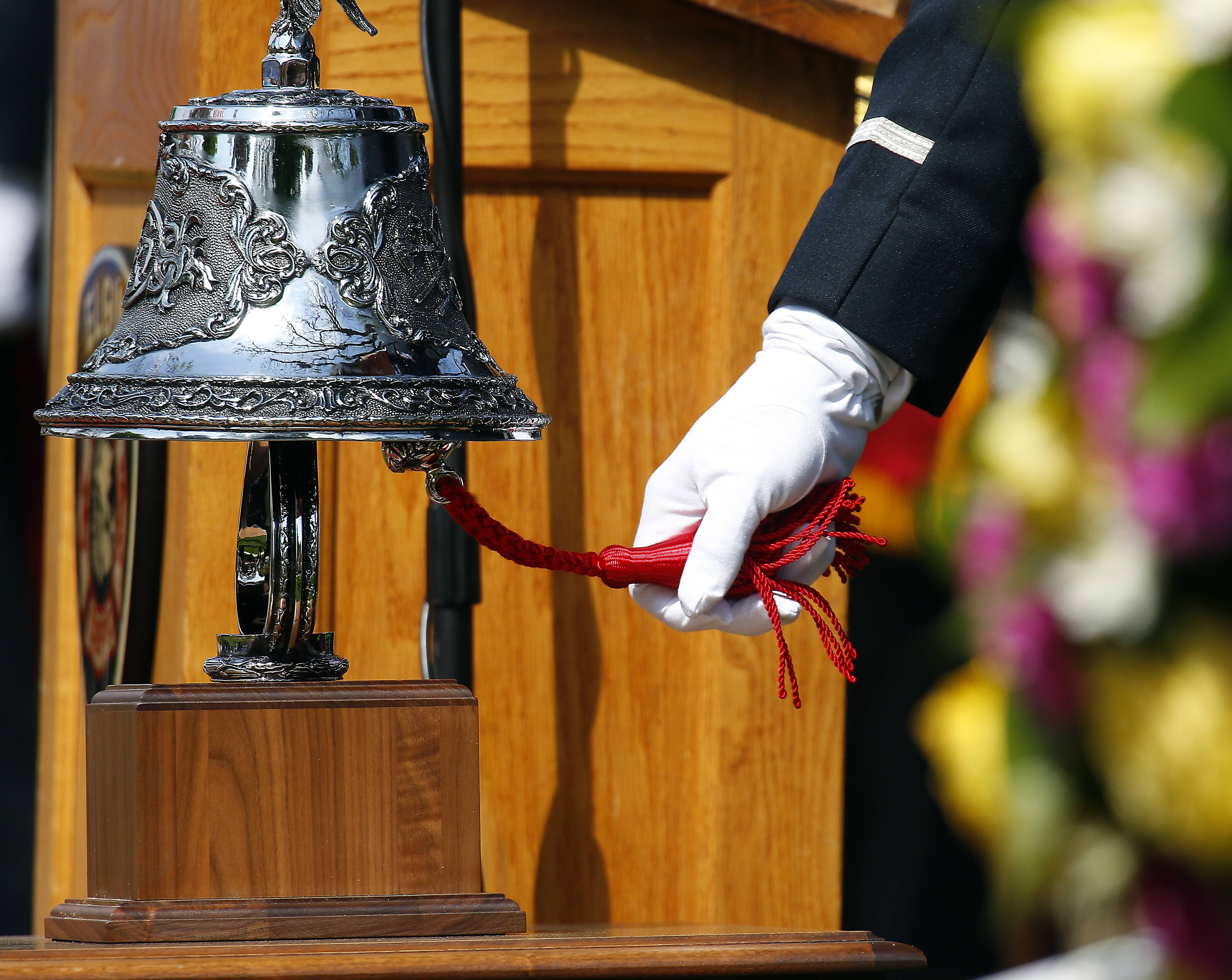 The bell is rung for each firefighter lost the past year during the annual Elgin Area Firefighters' Memorial Saturday.