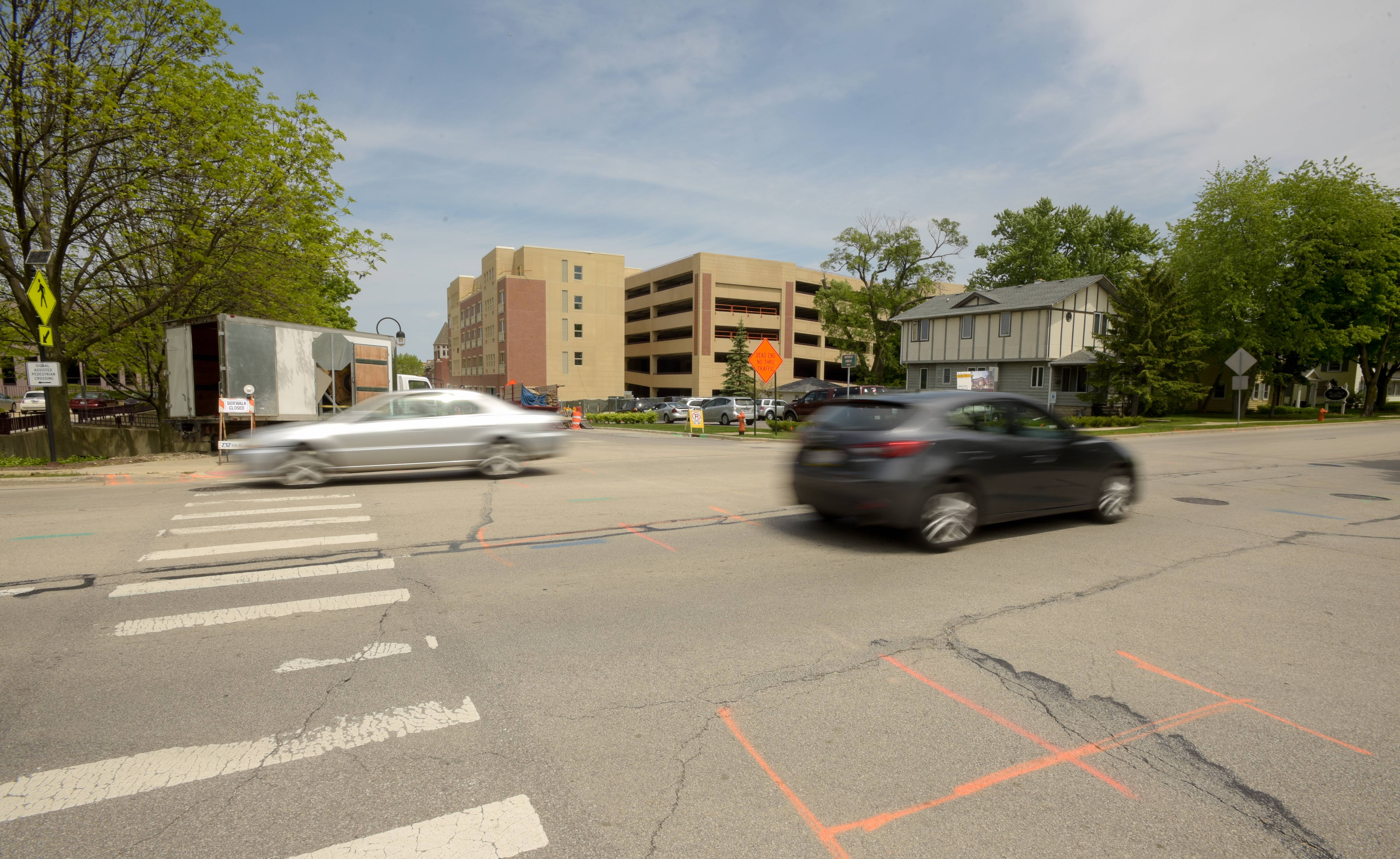 A new traffic signal will be installed at the intersection of Aurora Avenue and Webster Street in downtown Naperville near a hotel, shops and restaurants set to open this fall at the Water Street District.