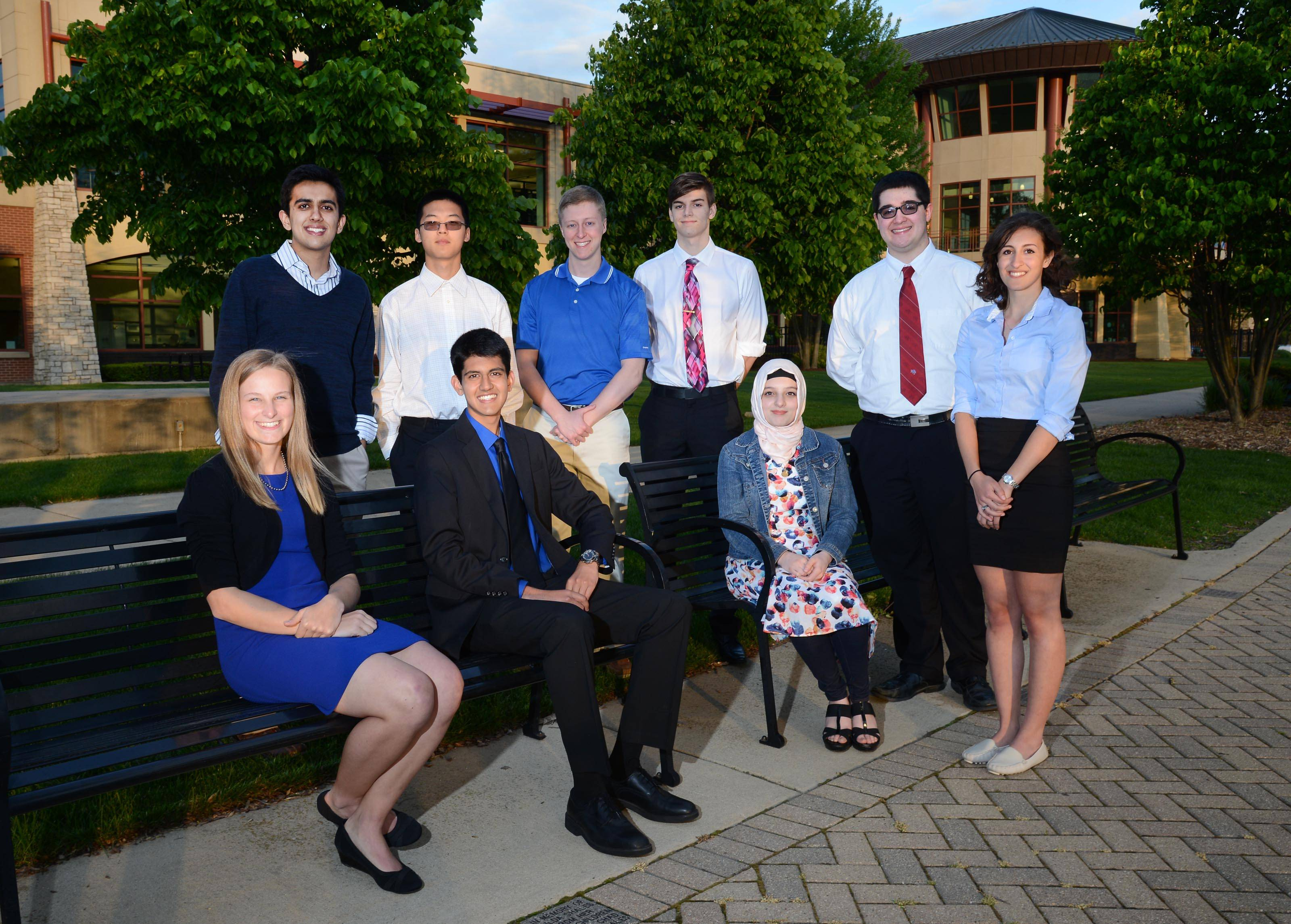 The 2015-16 Fox Valley Daily Herald Academic Team outside the Gail Borden Library in Elgin. Sitting, from left: Hannah Gillespie, Marian Central Catholic High School; Parth Shah, Harry D. Jacobs High School; Deniz Namik, Dundee-Crown High School. Standing, from left: Archan Vyas, St. Charles North High School; Andrew Park, St. Charles East High School; Michael Wilkins, Geneva Community High School; Matthew Cannalte, Huntley High School; Harrison Kearby, Marmion Academy and Valerie Scimeca, Elgin Academy. Not pictured, Alyssa Gao, Batavia High School.