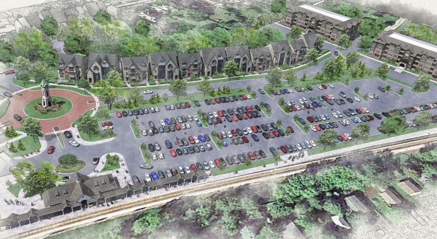 Another plan has surfaced for a former industrial area near the downtown Libertyville train station known as the Trimm property. This version calls for luxury apartments and townhouses featuring a clock tower and roundabout.