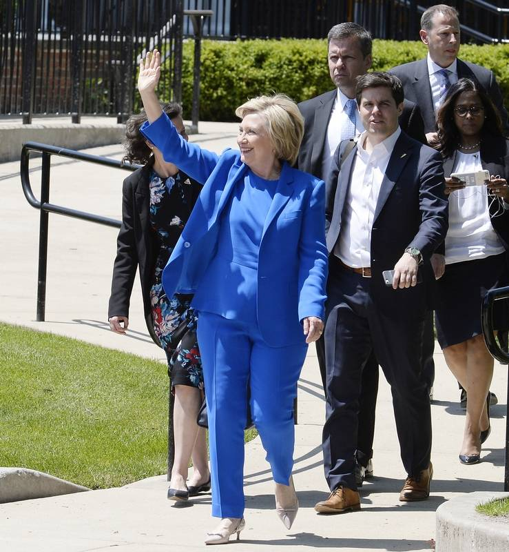 Hillary Clinton Arrives For A Fundraiser In Her Hometown Of Park Ridge