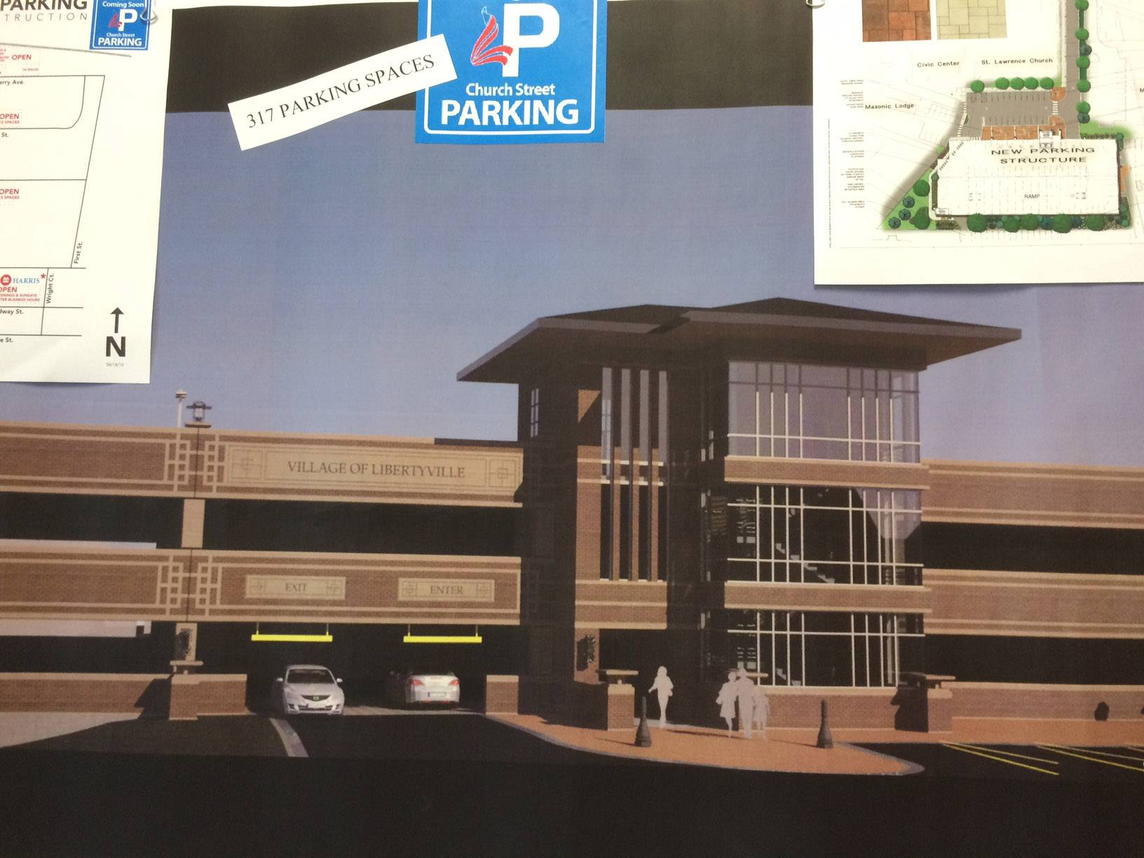 A rendering for the new Libertyville downtown parking deck is on display in the Libertyville Civic Center lobby.