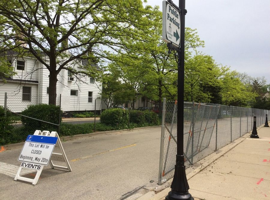 The parking lot south of Church Street in downtown Libertyville is now closed for construction of a new parking deck.