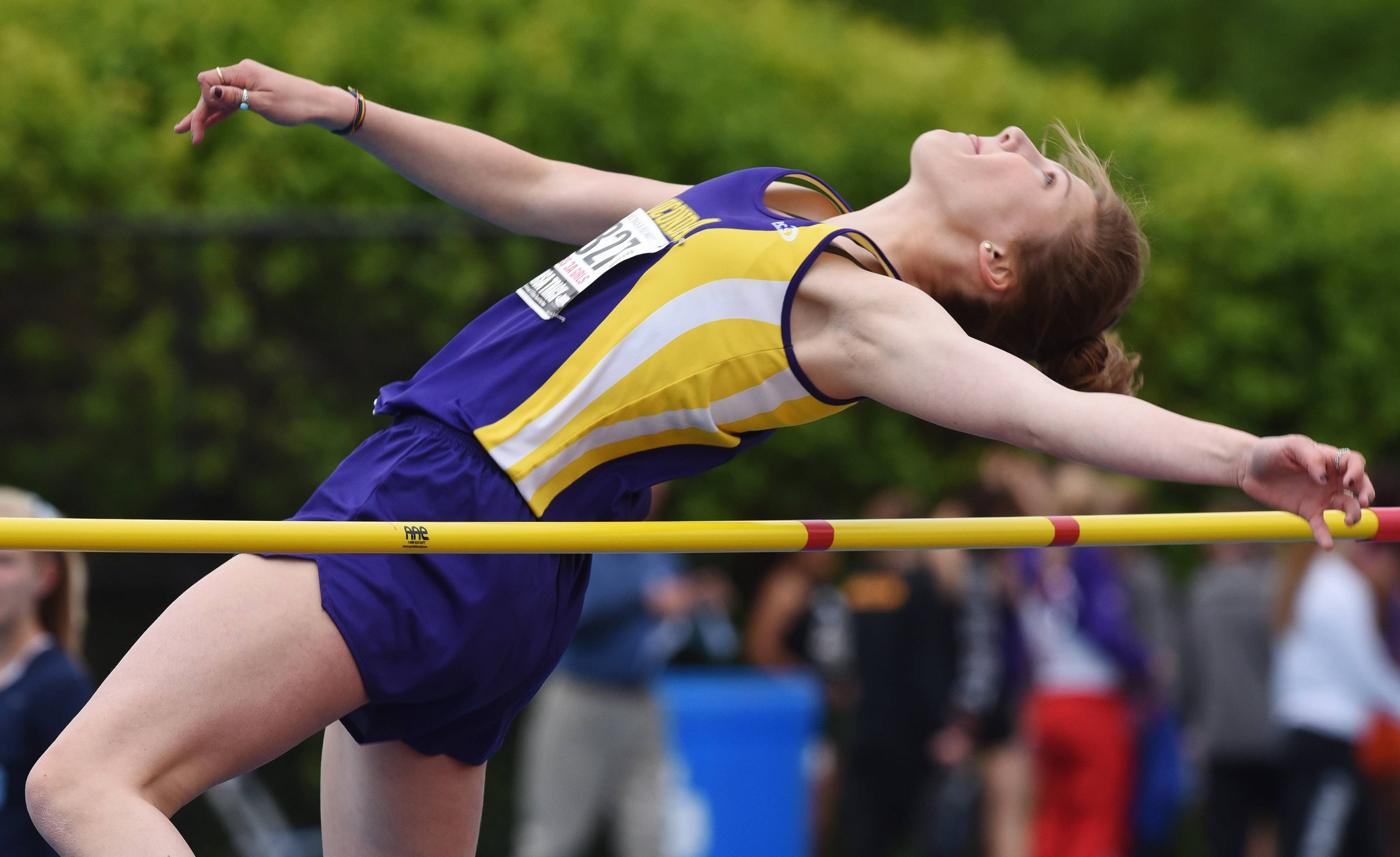Wauconda's Grace Daun competes in the high jump during the Class 3A girls track and field state meet preliminaries in Charleston on Friday.