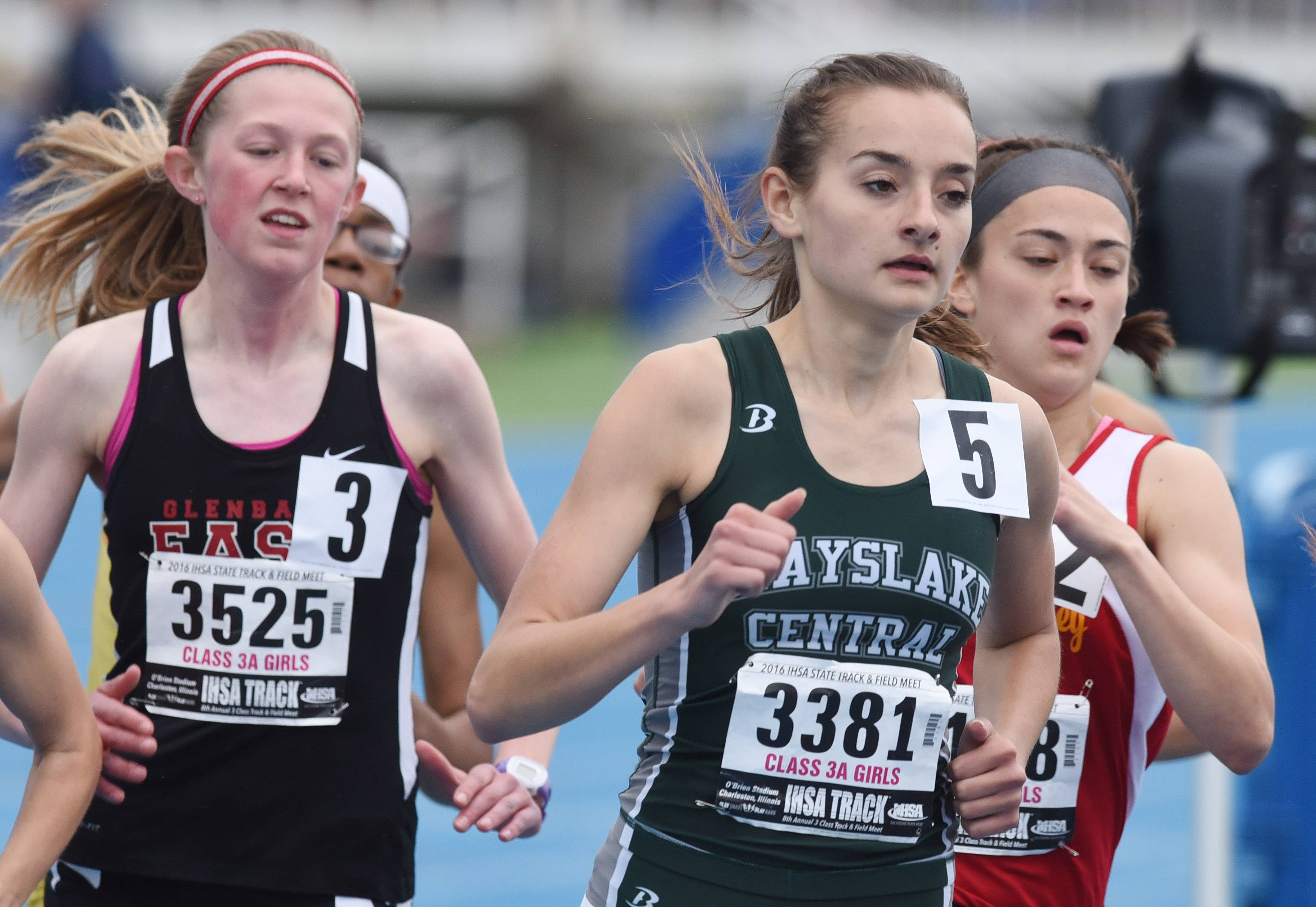 Grayslake Central's Sara O'Malley is in the middle of the pack during heat one of the 800-meter run during the Class 3A girls track and field state meet preliminaries in Charleston on Friday.