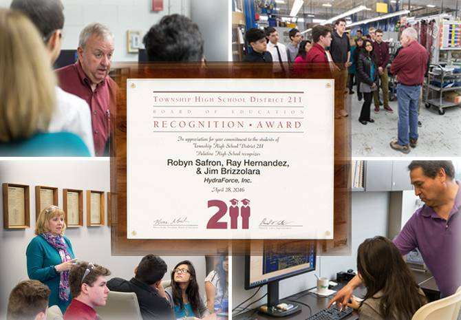 Montage photo of the NECSS Business Partnership Award with photos of recipients Jim Brizzolara, Ray Hernandez and Robyn Safron of HydraForce hosting the Career Trek for Palatine High School students.