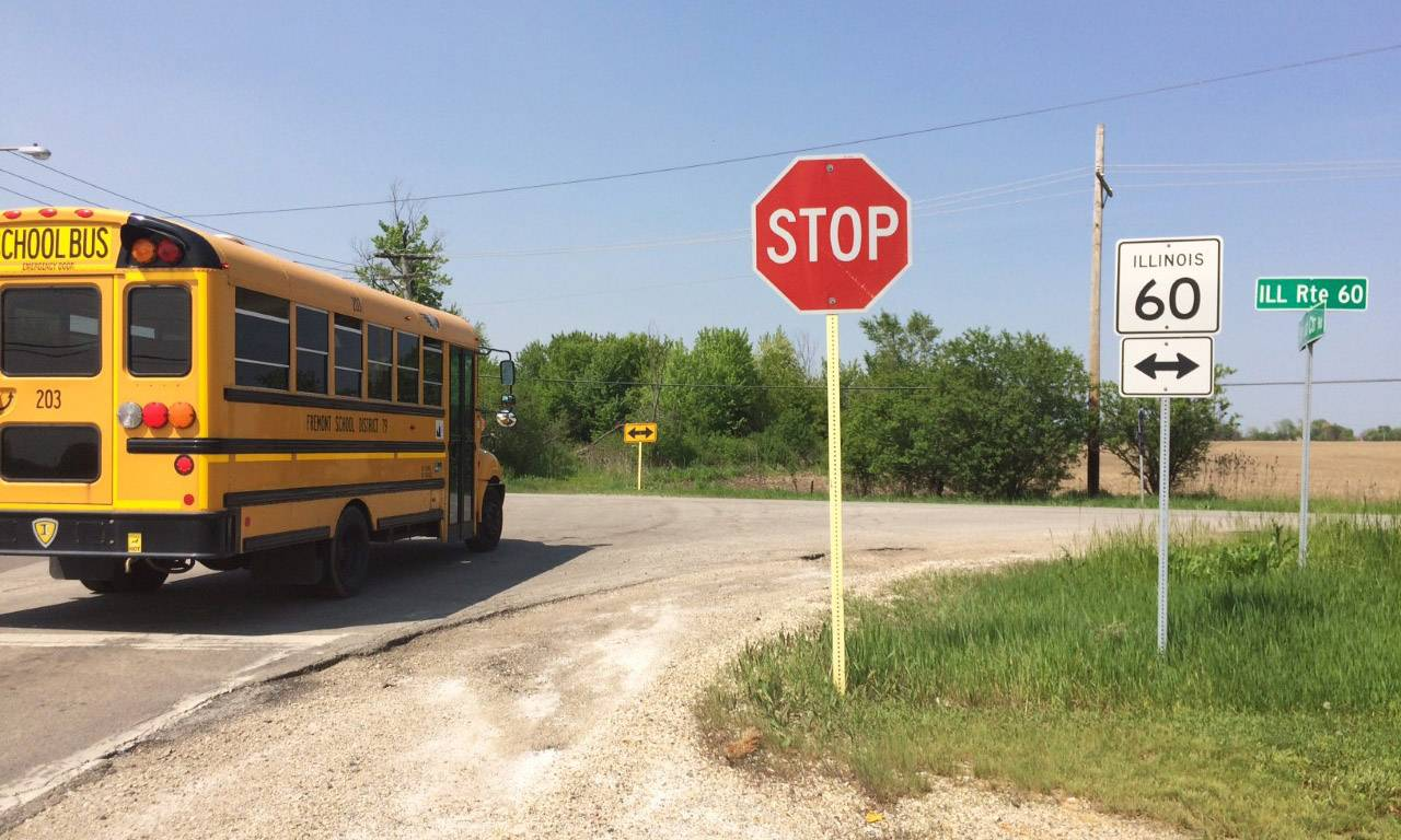 A school bus prepares to turn on to Route 60 from Fremont Center Road on Monday.