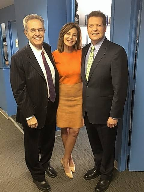 Ron Magers, left, will retire on Wednesday. The longtime anchor of ABC7's 10 p.m. newscast with Kathy Brock, center, will be replaced by Alan Krashesky, right.