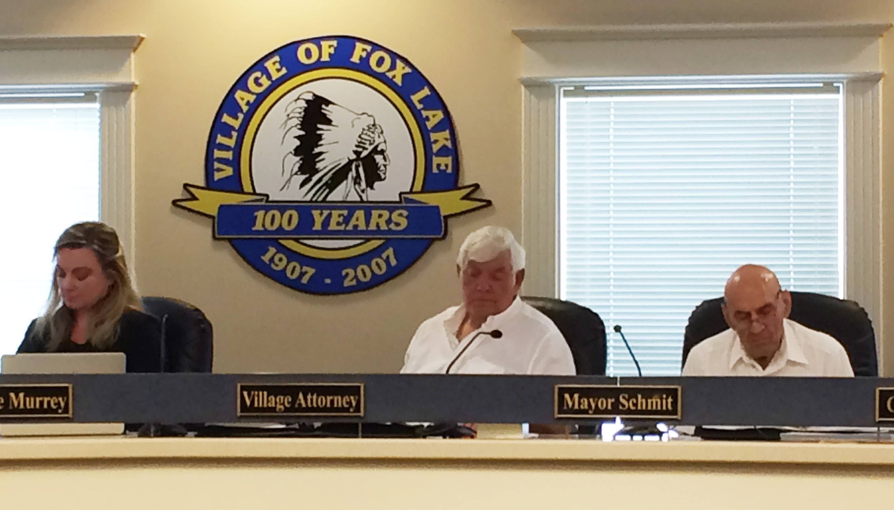 Fox Lake pension board attorney Laura Goodloe and pension board trustees Jack Kiesgen and Fred Loffredo during Wednesday's discussion about whether Fox Lake village officials should be part of the Joe Gliniewicz pension proceedings.