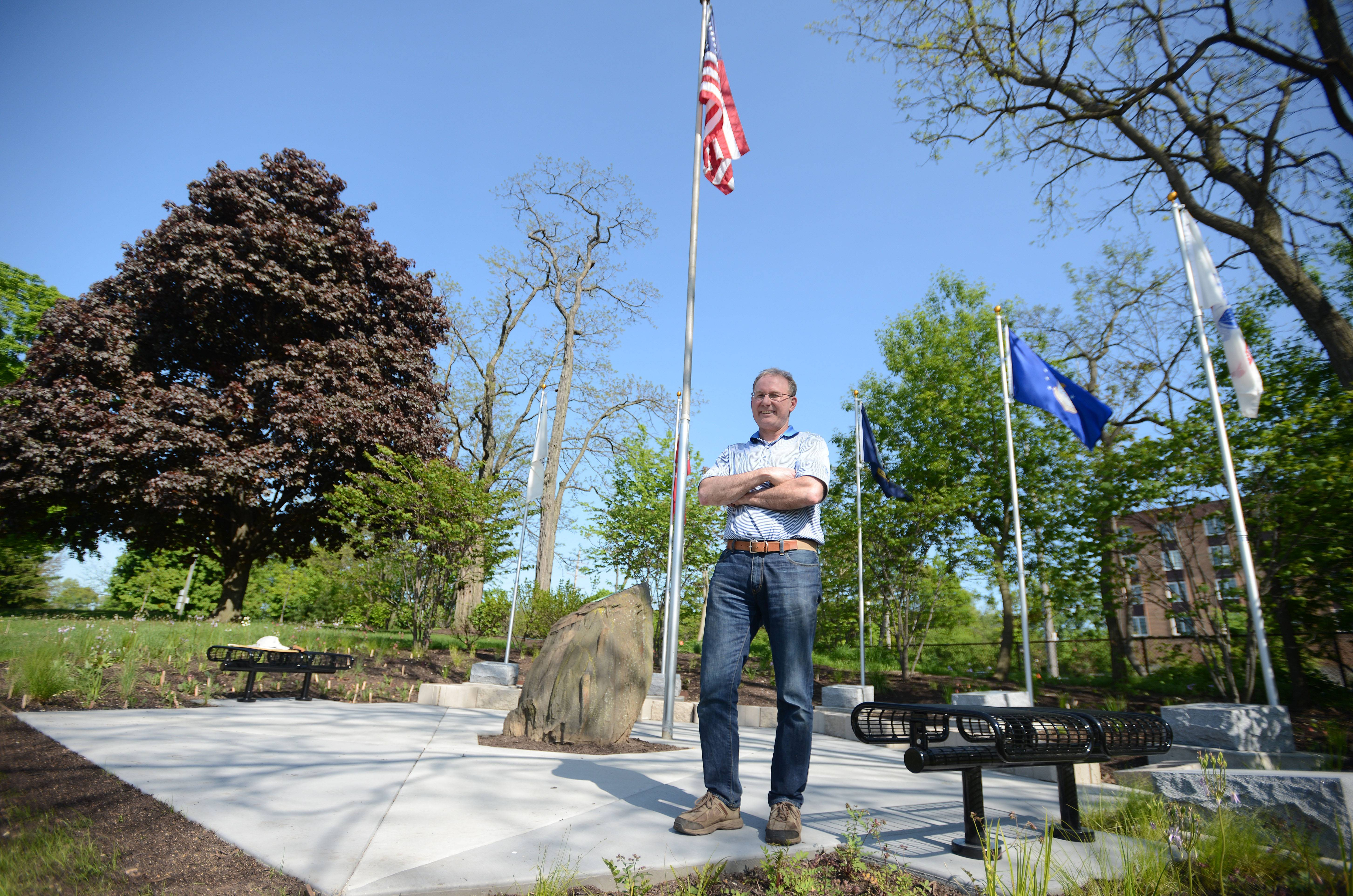 "Ron Aubrey spearheaded the construction of a new Glen Ellyn memorial that honors veterans and others who couldn't serve ""but did their part."" It also will host the American Legion's Memorial Day ceremony."