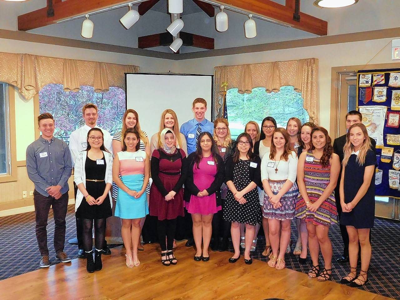 The Dundee Township Rotary Club awarded scholarships to local high school students during its annual banquet. Award recipients include, back row from left: Taylor Schmidt, Timothy Randl, Angela Tripp, Alexandra Lorenz, Dylan Subrin, Sydney Faler, Jacqueline O'Connor, Jocelyn Collado Kuri, Alyssa Cassiere, Amy Al-Salaita, and Michael Holmes. And front row from left: Ashley Le, Monica Juarez, Deniz Namik, Jazmin Pacheco, Krystine Strzepek, Kimberly Grant, Jaida Olvera, Olivia Zahara.