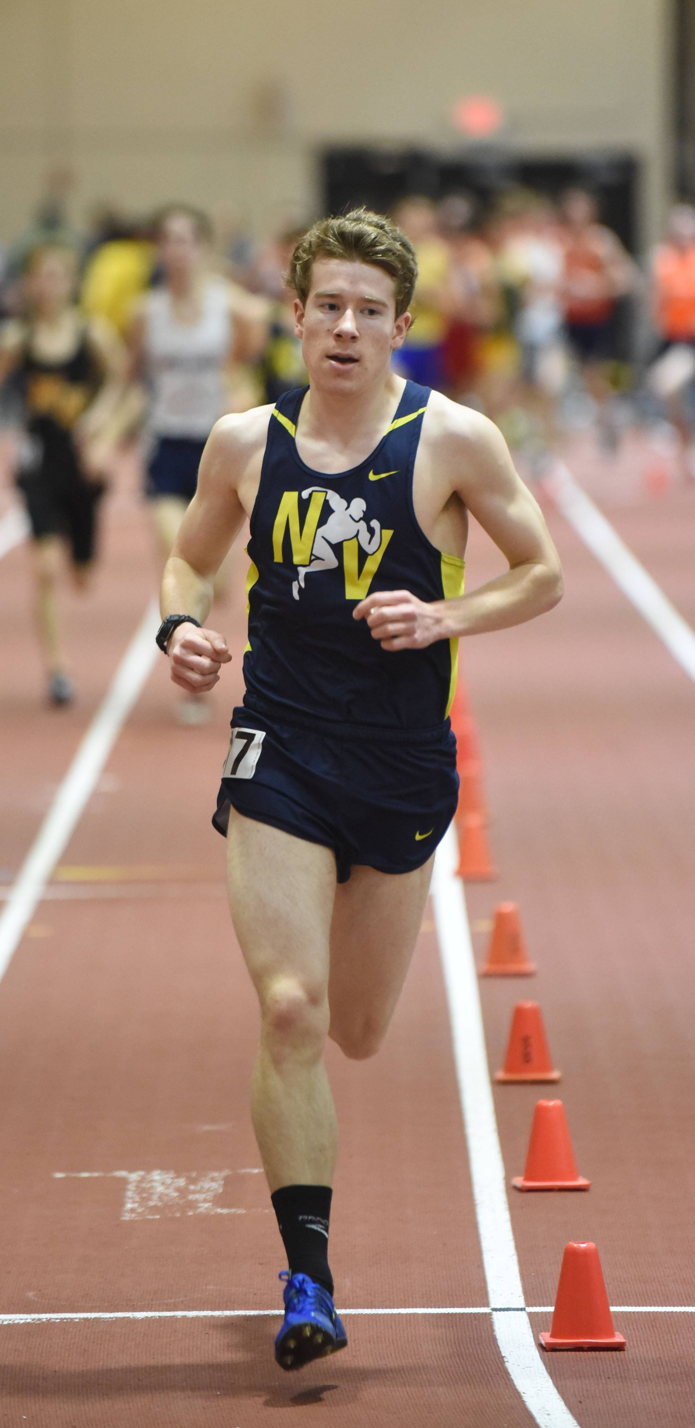 Connor Horn of Neuqua runs the 3200 during the DuPage Valley Conference boys indoor track meet Friday.