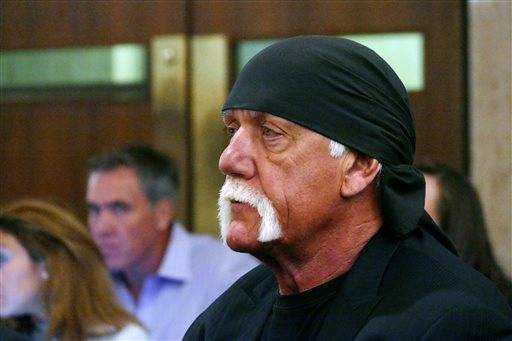 Hulk Hogan, whose real name is Terry Bollea, appears in court, Wednesday, May 25, 2016, in St. Petersburg, Fla. A Florida judge on Wednesday denied Gawker's motion for a new trial in Hogan's sex-video case and won't reduce a $140 million jury verdict. (Scott Keeler/The Tampa Bay Times via AP, Pool)