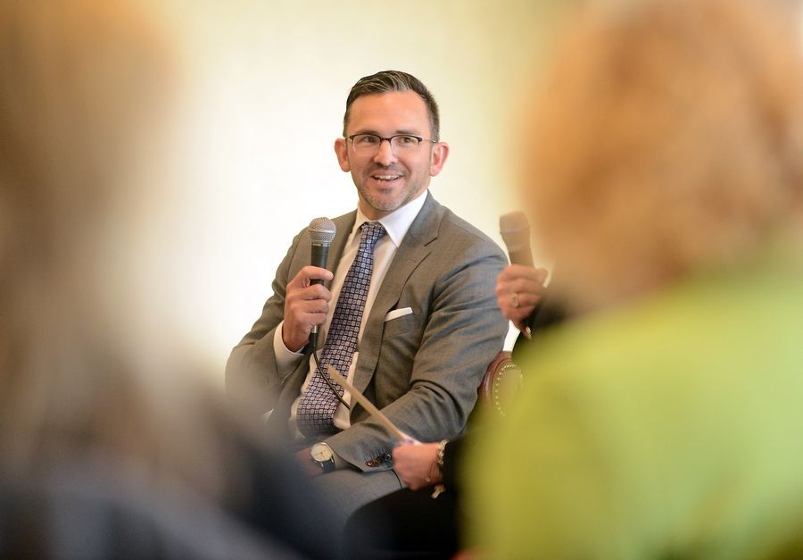 "Elgin City Manager Sean Stegall was hired as town manager in Cary, North Carolina. Here he answers questions at the Elgin Area Chamber of Commerce ""CEO Unplugged"" series in 2015."