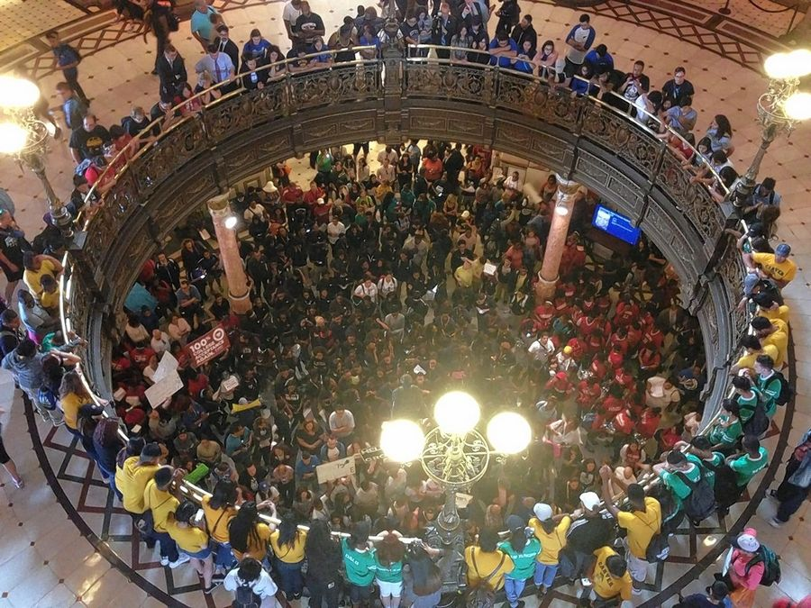 Chicago Public Schools advocates rally at the Illinois Capitol Thursday.