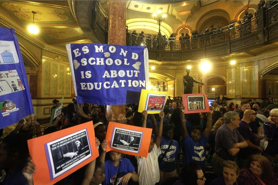 Chicago school leaders and students rally for more funding at the Illinois Capitol Thursday.