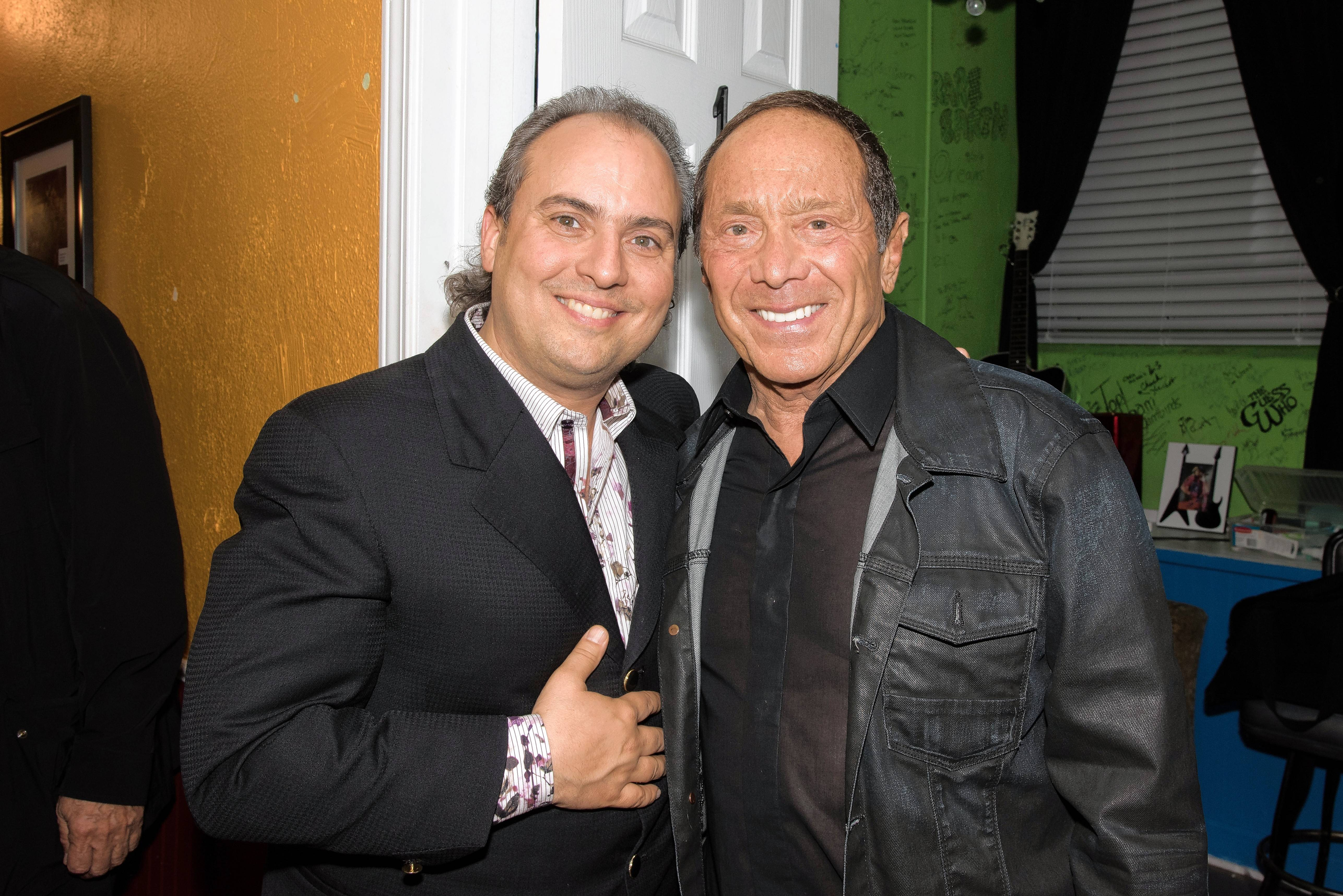 Singer Paul Anka, left, and the Arcada Theatre's Ron Onesti finally get together backstage.