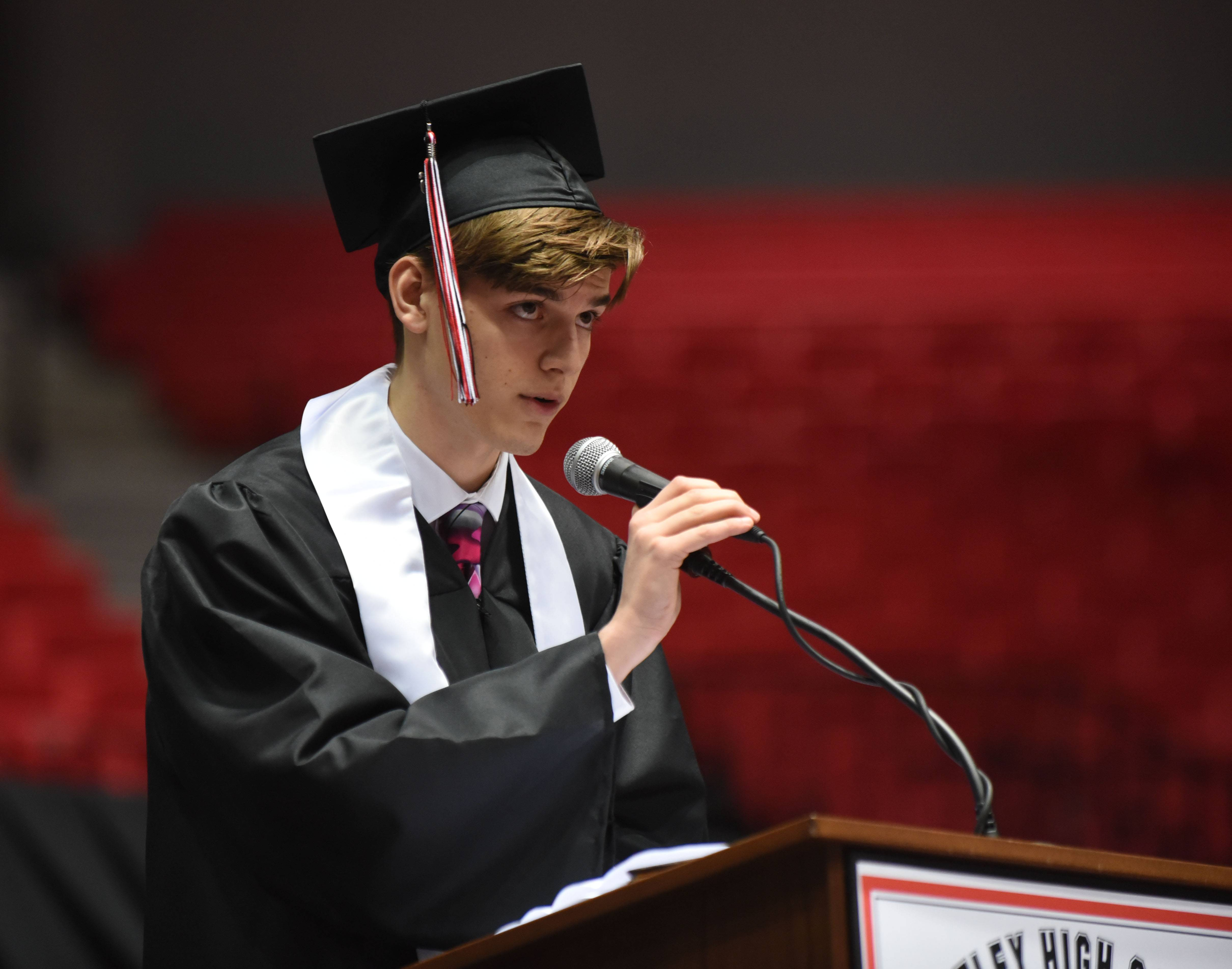 Valedictorian Matthew Cannalte gives his address during the Huntley High School graduation at Northern Illinois University Saturday.