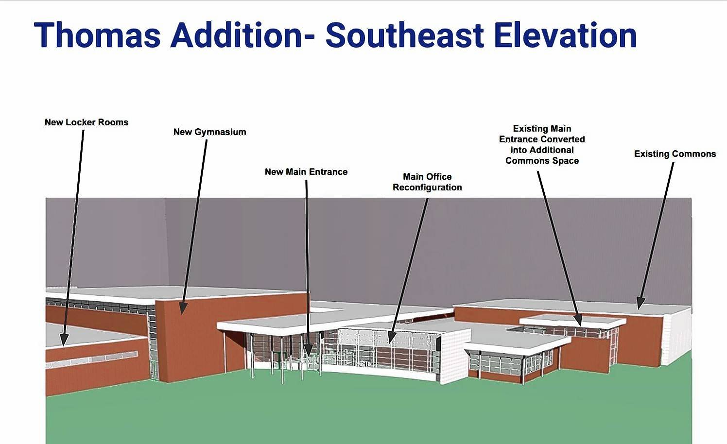 A proposed $15 million addition to Thomas Middle School in Arlington Heights would result in a larger gymnasium and more classrooms.