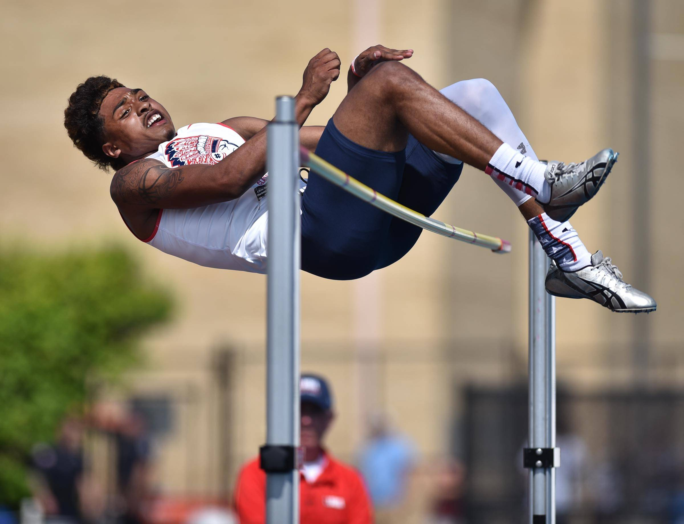 West Aurora's Camron Donatlan misses on his final attempt at 7 feet in the high jump Saturday at the boys track state and field finals in O'Brien Stadium at Eastern Illinois University in Charleston. He won the event at 6 feet, 10 inches.